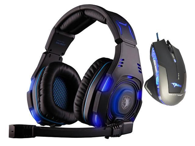 E-Blue Mazer 2500 DPI Blue LED Optical USB Wired Gaming Mouse+Bluedio R+Sades SA-907 Over Ear Stereo 7.1 Surround Sound PC Gaming Headset & Music Headset