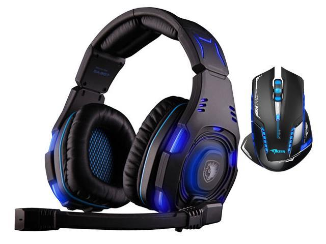 E-Blue Mazer II AVAGO chip 2500 DPI Blue LED 2.4GHz Wireless Optical Pro Gaming Mouse+Sades SA-907 Over Ear Stereo 7.1 Surround Sound PC Gaming ...