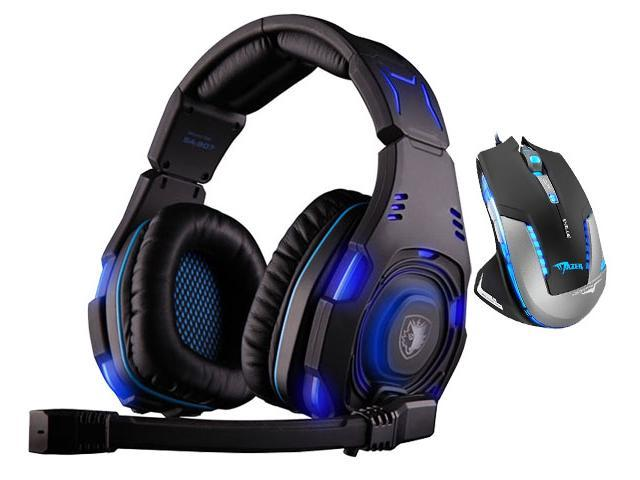 E-Blue Mazer II 2500 DPI Blue LED Optical USB Wired Gaming Mouse+Bluedio R+Sades SA-907 Over Ear Stereo 7.1 Surround Sound PC Gaming Headset & ...