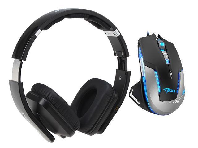 E-Blue Mazer II 2500 DPI Blue LED Optical USB Wired Gaming Mouse+Bluedio USB Connector/ Bluetooth 4.0 Circumaural Wireless Folding Gaming Headset