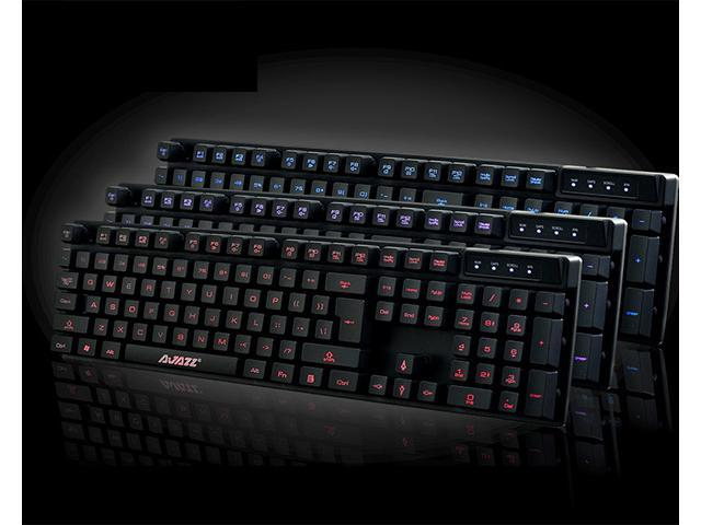 Keyboard Feeling Imitation Gaming Keyboard - Multimedia LED Illuminated 3 Color Backlight Dimmable Red/Blue/Purple, Backlit Switchable, ...