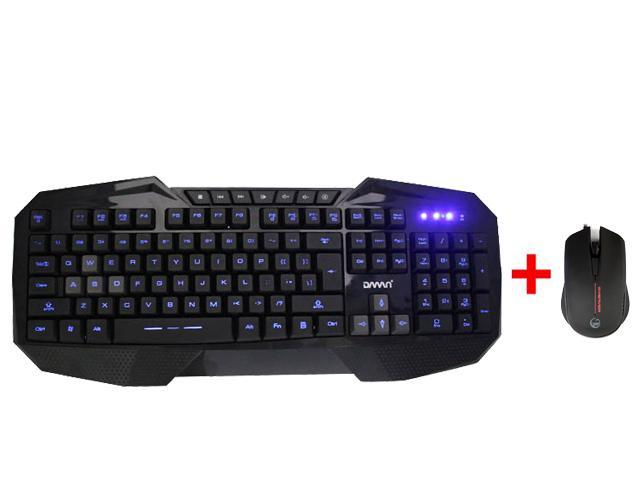 USB Wired LED Backlight Ergonomic Gaming Keyboard w/ 2000DPI Multi-Color LED 3 Buttons Pro Gaming Optical Mouse Mice for Desktop PC, Computer, ...