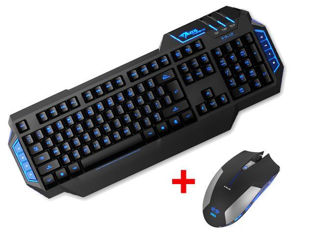 E-3lue E-Blue MAZER Type-X Backlit USB Wired Gaming Keyboard w/ 2.4GHz Blue LED 6 Button Optical USB Wireless Gaming Mouse Mice for Desktop PC, ...