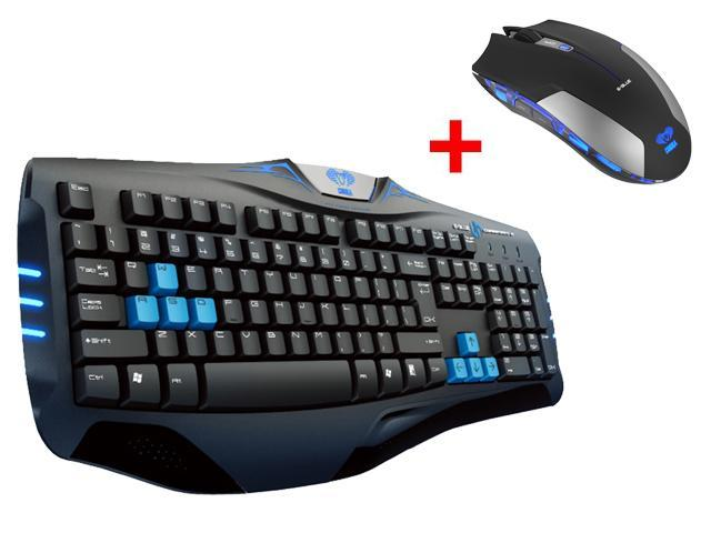 E-3lue E-Blue USB Wired Ergonomic Professional Gaming Keyboard w/ 2.4GHz Blue LED 6 Button Optical USB Wireless Gaming Mouse Mice for Desktop PC, ...
