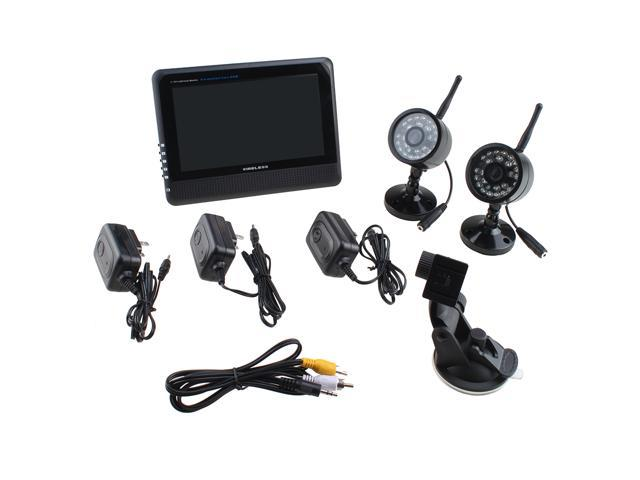 Wireless Digital 4CH Quad DVR 2 Weather Proof Cameras with 7