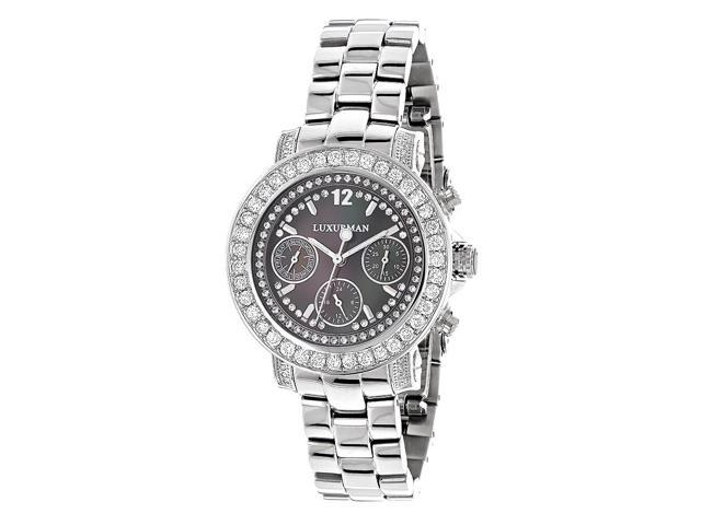 Luxurman Oversized Diamond Watches For Women: Montana Black MOP 3ct