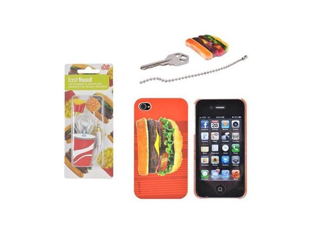 3 Item Combo W DCI Universal Fast Food 3.5mm Headset, Hamburger On Red Stripes Cover & Key Topper For Apple Iphone 4s 4