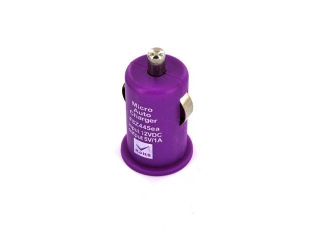 Universal USB Miniature Car Charger Adapter (1000 Mah) - Purple