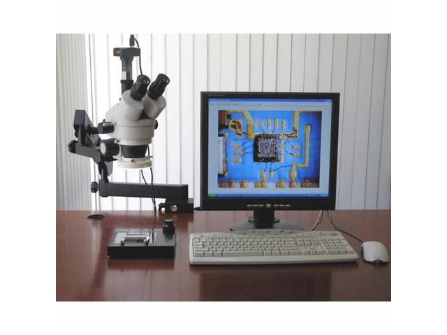 3.5X-90X Articulating Stereo Microscope w 80-LED Light + 5MP USB Digital Camera