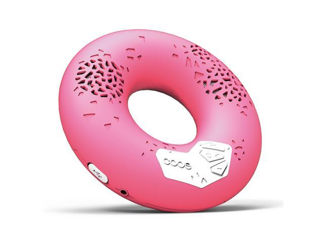 CODE Donut Premium Portable Wireless Bluetooth Speaker with NFC Tag (Pink, Enhanced Bass, Built-in Speakerphone, 8-hour Play Time)