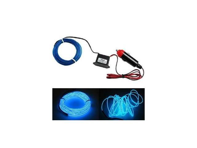 iJDMTOY Flexible EL Neon Glow Lighting Strip With Charger For Car Interiror Decoration, Blue Color