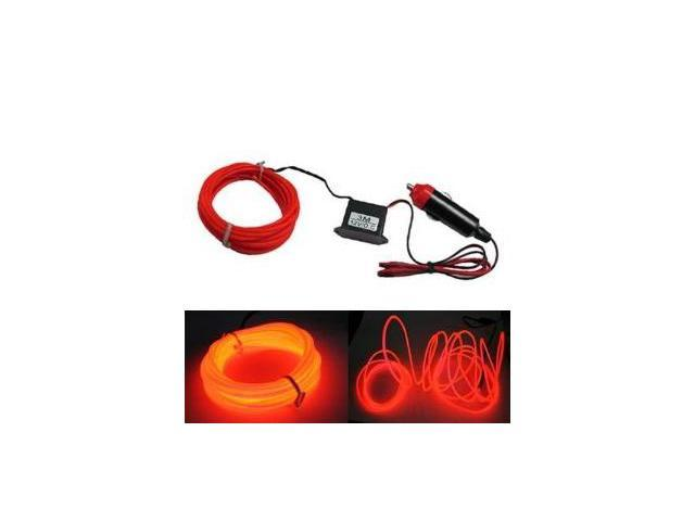 iJDMTOY Flexible EL Neon Glow Lighting Strip With Charger For Car Interiror Decoration, Red Color