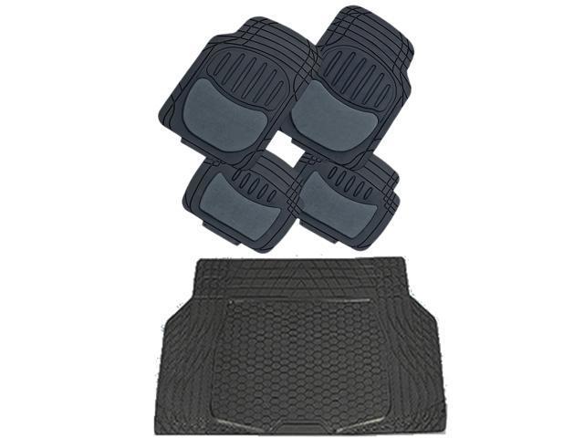 Solid Black Heavy Dutty Semi Carpet Rubber Floor Mats & Cargo Mat 5pc Set Universal