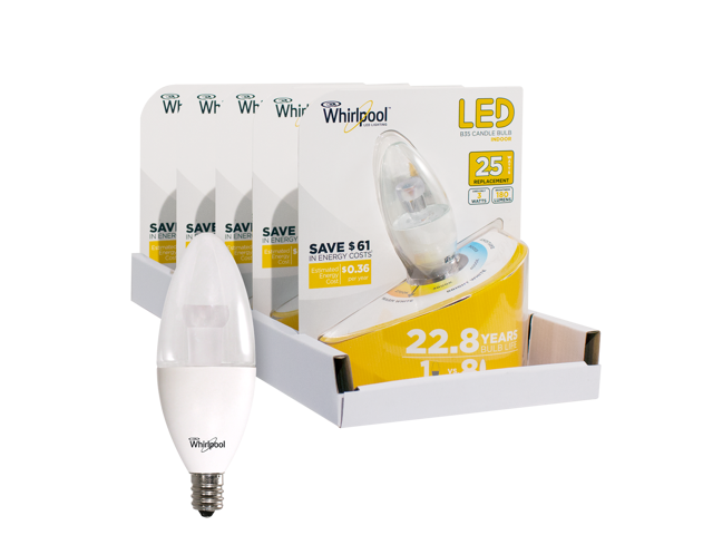 Whirlpool LED 25 Watt Replacement B35 Candle Bulb - 5 Pack