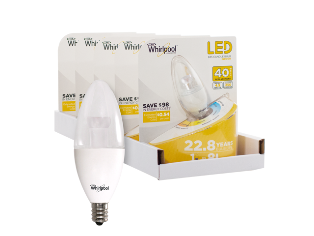 Whirlpool LED 40 Watt Replacement B35 Candle Bulb - 5 Pack