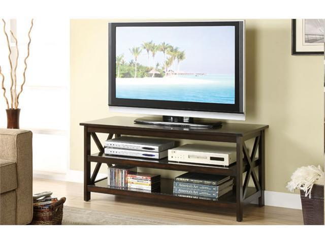 Poundex F4513 Dark Finish Wood TV Stand by Poundex