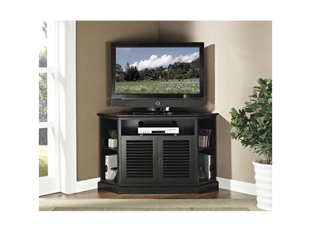52 in. Wood Corner TV Console - Black
