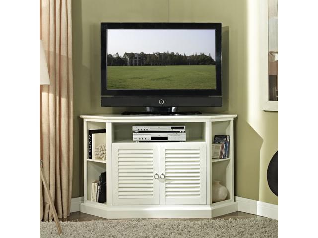 52 in. Wood Corner TV Console In White Finish