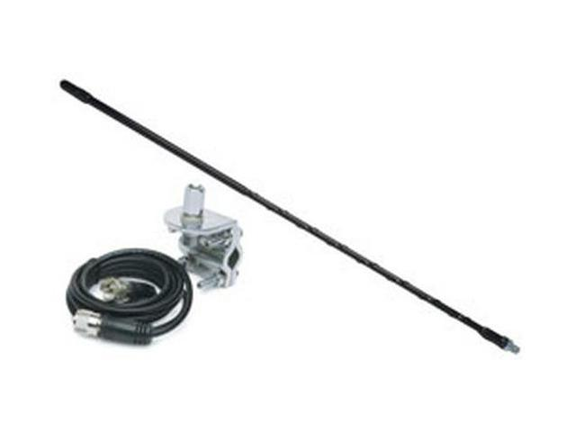 3' Top Loaded Fiberglass CB Antenna with Mirror Mount & Cable - 750 Watt Black