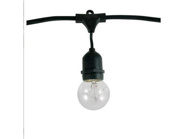Bulbrite 810003 (2PK) 15-Light - 1500W Max - E26 Base - 48' Outdoor String Kit & G16 - 20,000Hr - Clear - Twinkle Mini