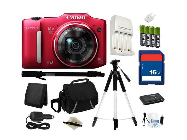 Canon PowerShot SX160 IS Red Approx. 16 MP 16X Optical Zoom 28mm Wide Angle Digital Camera HDTV Output, Everything You Need Kit, 6801B001