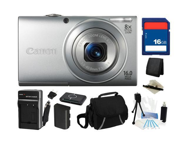 Canon PowerShot A4000 IS (Silver) 16.0 MP 8X Optical Zoom 28mm Wide Angle Digital Camera with 720p HD Video Recording, Everything You Need Kit, ...