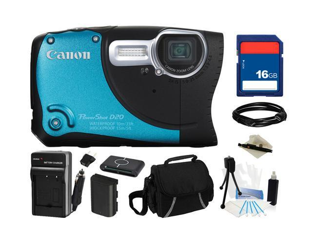 Canon PowerShot D20 Blue, Black 12.1 MP 5X Optical Zoom Waterproof Shockproof 28mm Wide Angle Digital Camera HDTV Output, Everything You Need ...