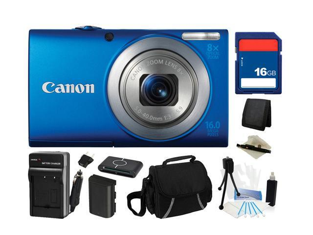 Canon PowerShot A4000 IS (Blue) 16.0 MP 8X Optical Zoom 28mm Wide Angle Digital Camera with 720p HD Video Recording, Everything You Need Kit, ...