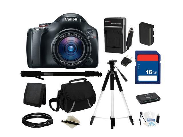 Canon PowerShot SX40 HS Black 12.1 MP 35X Optical Zoom 24mm Wide Angle Digital Camera, Everything You Need Kit, 5251B001