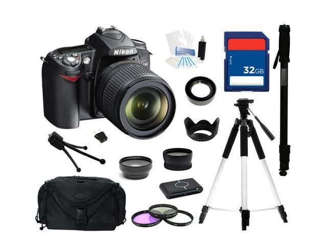 Nikon D90 Black 12.3 MP Digital SLR Camera w/ AF-S DX NIKKOR 18-105mm f/3.5-5.6G ED VR Lens, Everything You Need Kit, 25448
