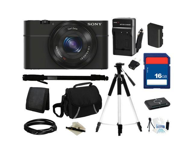 Sony DSC-RX100 20.2 MP Exmor CMOS Sensor Digital Camera with 3.6x Zoom, Everything You Need Kit, DSCRX100/B