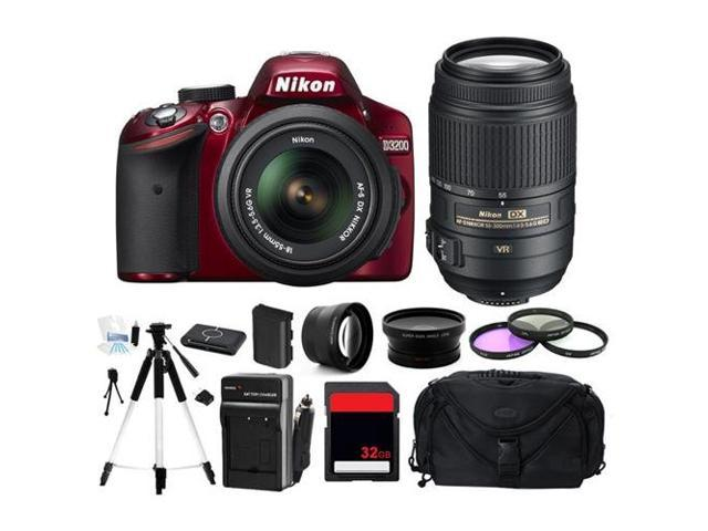Nikon D3200 (Red) Digital Camera w/ 18-55 + 55-300 Lens (Photographer's Bundle)