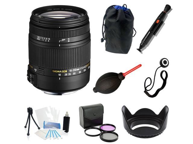 Sigma 18-250mm f3.5-6.3 DC MACRO OS HSM All You Need Bundle For Canon T5i DSLR