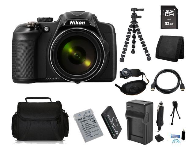 Nikon COOLPIX P600 16.1 MP Digital Camera with 32GB Bendable Tripod Holiday Kit
