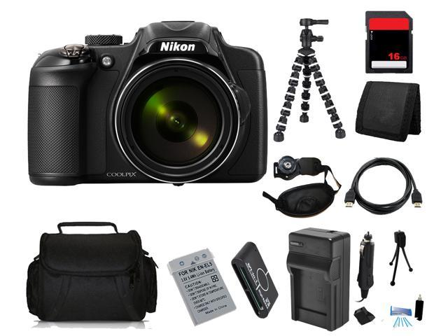 Nikon COOLPIX P600 16.1 MP Digital Camera with 16GB Bendable Tripod Holiday Kit