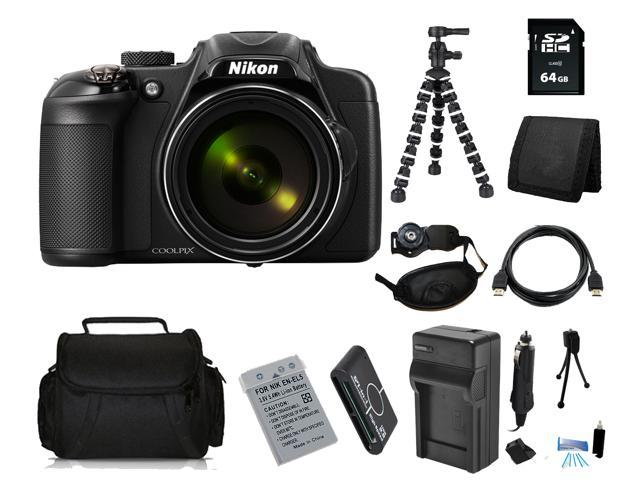 Nikon COOLPIX P600 16.1 MP Digital Camera with 64GB Bendable Tripod Holiday Kit