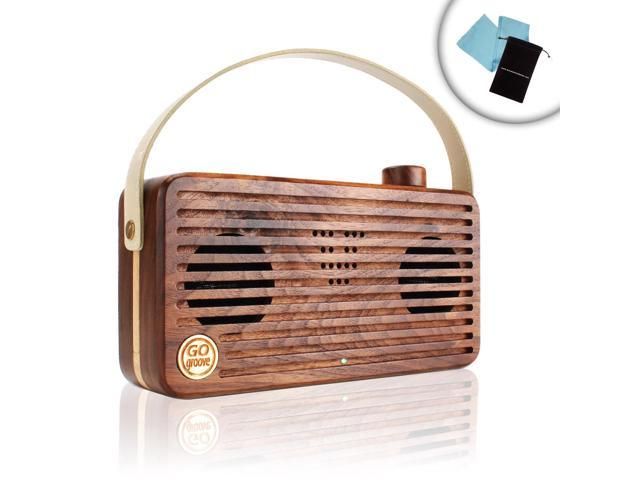 GOgroove NFC Bluetooth Retro Wood Speaker BlueSYNC WUD with Integrated Microphone and Portable Carry Handle – Works with Apple , Samsung , HTC , ...