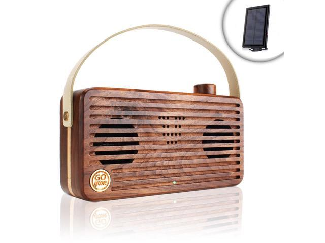 GOgroove Multimedia Solar Charged Retro Wood Bluetooth Speaker BlueSYNC WUD with NFC , Microphone and Carry Handle - Works with Apple , Samsung , ...