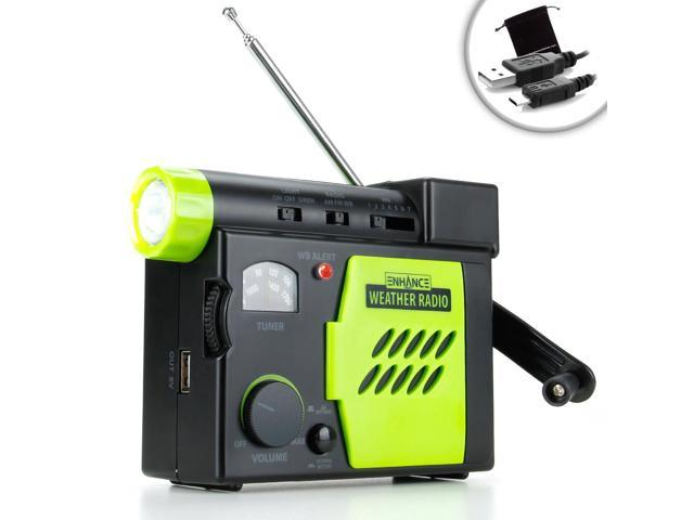 ENHANCE Self-Powered Weather Radio with Hand Turbine and Smartphone Charger - Perfect for Apple iPhone 6 , Samsung Galaxy S5 , LG G3 , HTC ...