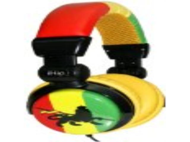 iHip DJRASTAHP DJ Style Rasta Headphones - Red/Yellow/Green/Black