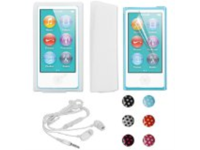 Skque Clear Silicone Skin Case Cover + LCD Clear Screen Protector + White 3.5mm Stereo Earphone Headphone w/Mic + iphone iPad iPod Touch Polka ...