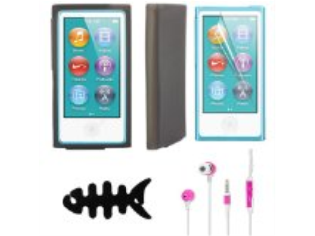 Skque Smoke Silicone Skin Case Cover + Transparent Clear Screen Protector + Pink 3.5mm Remote Mic Metal Earphone Headphone and free Fishbone ...