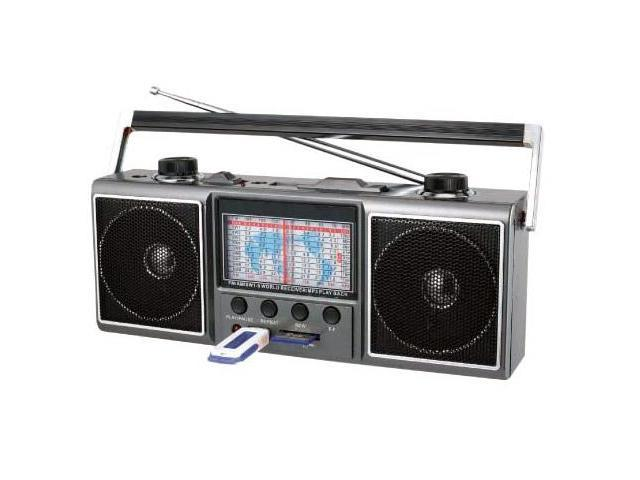 AM/FM/SW/MP3 Portable Mini Radio w/3.5mm Headphone Jack & USB, SD Card Inputs