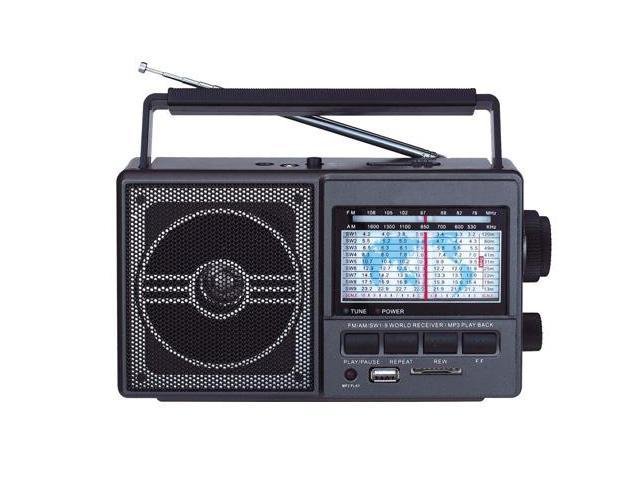 Mini Portable AM/FM/SW/MP3 Weather Radio w/Built-In Front USB & SD Inputs
