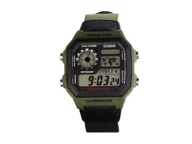Casio AE-1200WHB-3BV Men's Multi Function Green Band Digital Watch w/ World Time