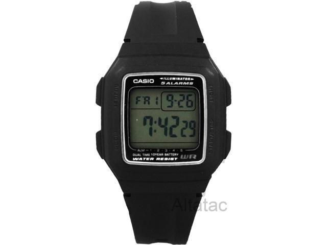Casio F201W-9A Men's Dual Time Digital Sports Watch w/ 4 Multi-Function Alarms