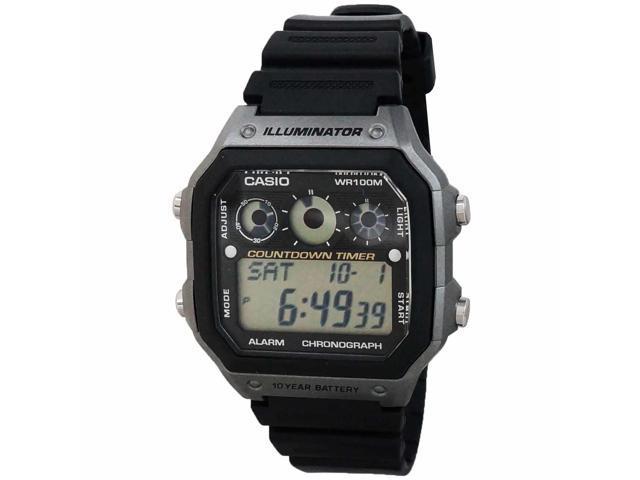 Casio AE-1300WH-8AVCF Men's Illuminator Digital Sports Watch - Black & Grey