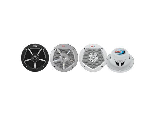 Boss Audio MR65G3 250W 2-Way Marine Speakers w/White, Chrome, Black Interchangeable Grill