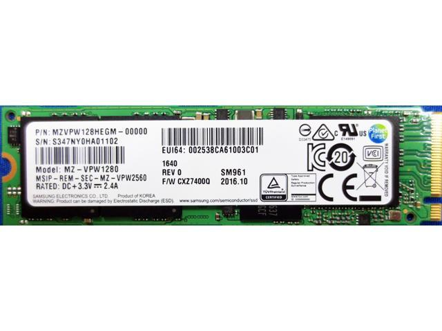 "Samsung SM961 128GB (NVMe) MZVPW128HEGM-00000 MZ-VPW1280 Gen3 M.2 80mm PCIe 3.0 x4 128G SSD with free 2.5"" SSD cable"