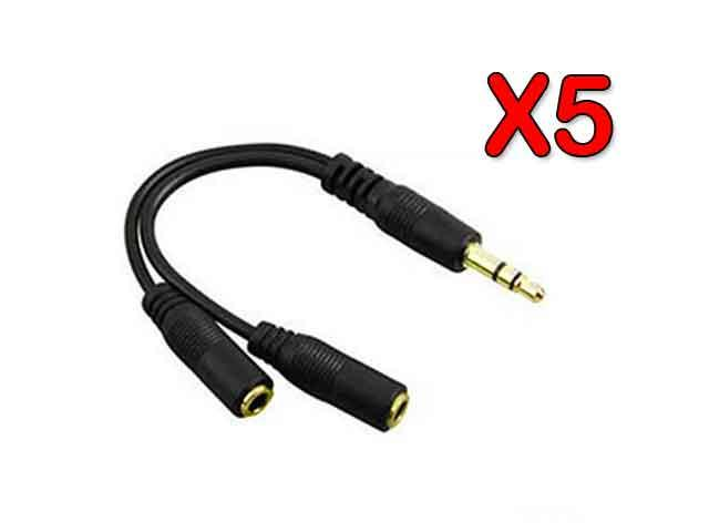 Audio Splitter Cable - Premium Quality New Audio Y Splitter Adapter Cable ( Pack of 5 )
